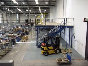 Mezzanine Floor steelwork is decked, stairs and handrail is added